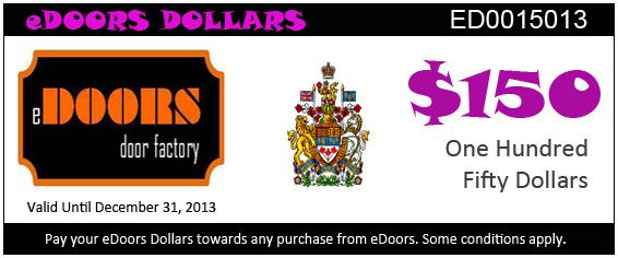 eDoors 150 dollars